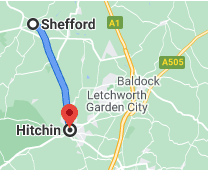 map showing route between Hitchin and Shefford